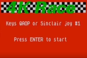 4k Race, pantalla de inicio